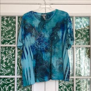 Liz & Me Tops - Sparkly Blue and Green Top